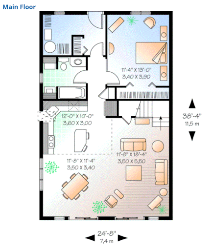 A frame home interior view