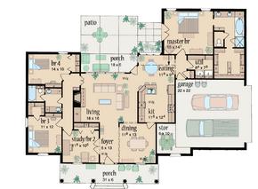 Top view interior floor plan