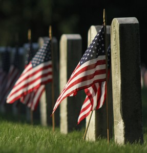 Decorated graves of U.S. soldiers