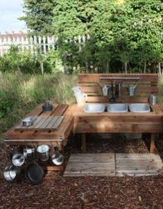 A fun and messy outdoor play space for the little ones.